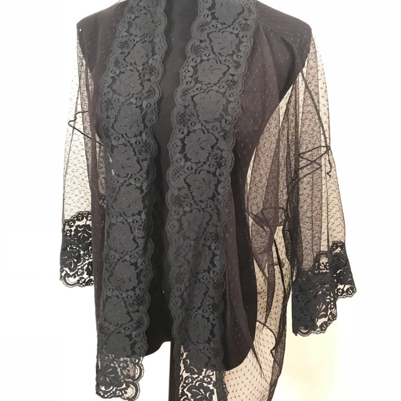 Vintage Jackets & Coats - Vintage black lace night jacket