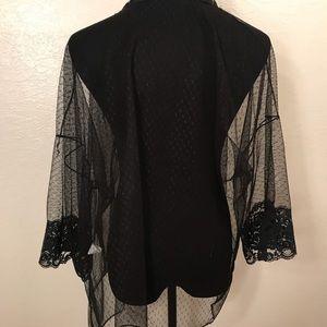 Vintage Jackets & Coats - Vintage black lace night jacket
