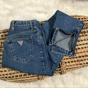 GUESS Vtg Mom Zip Ankle Jeans RARE in Blue