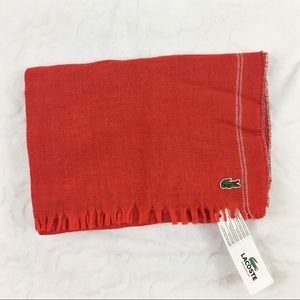 NWT Lacoste Large Red Scarf Wrap