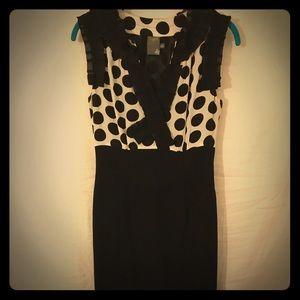 Silk black and white polka dot shift dress