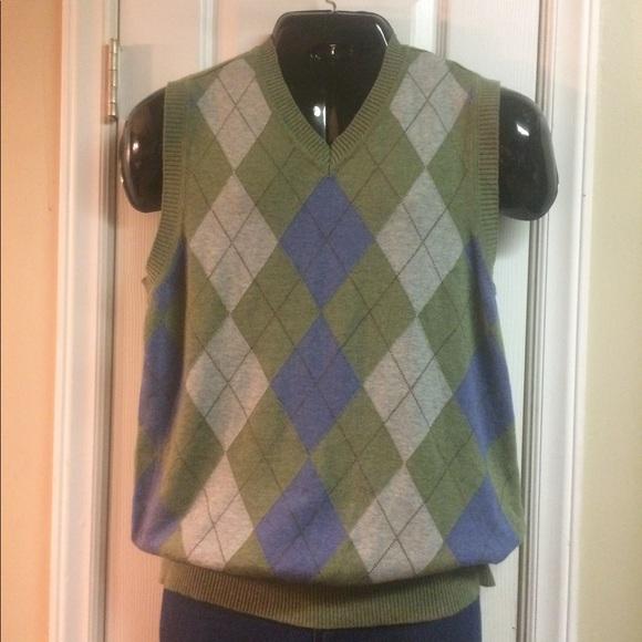 dcf1e1ba1982 Club Room Sweaters | Green Argyle Cotton Knit Vest | Poshmark