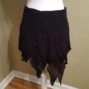 Bebe sequined asymmetric handkerchief skirt