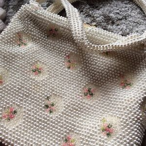 Vintage Fifties Bauble Pink Roses Handbag Purse
