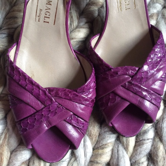 Bruno Magli Shoes - 💫BRUNO MAGALI Leather Purple Snakeskin Heels