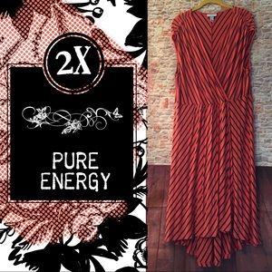 Pure Energy wrap HI-LO plus sized striped dress