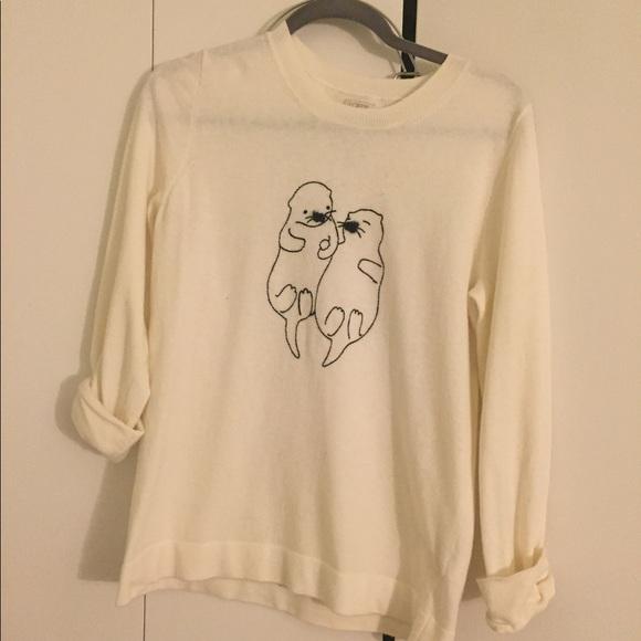 J Crew Sweaters J Crew Embroidered Otter Teddie Sweater Poshmark