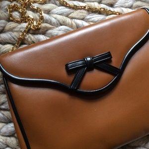 Vintage Brown Lolita Black Bow Trim Square Purse