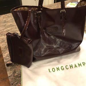 Longchamp Dark Maroon Patent Leather Handbag
