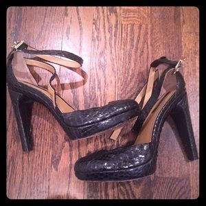 Rachel Zoe Black Snakeskin Pumps Heels Size US 7.5