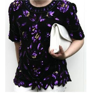 Vintage Stenay Formal black & purple sequin Blouse