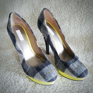 Rachel Roy plaid platform textured heels