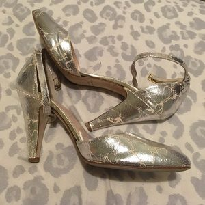 LR distressed silver pumps
