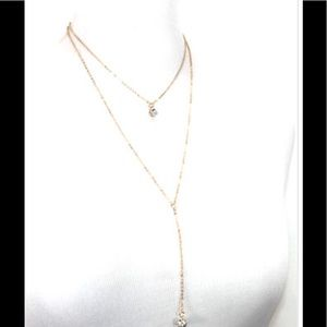 Dainty gold double layer necklace