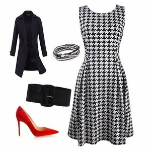 Bar III Houndstooth Flared Dress
