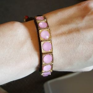 Pink gemstone adjustable bracelet