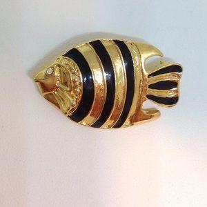 MMOO Signature Fish Pin Brooch Enamel &Crystal Eye