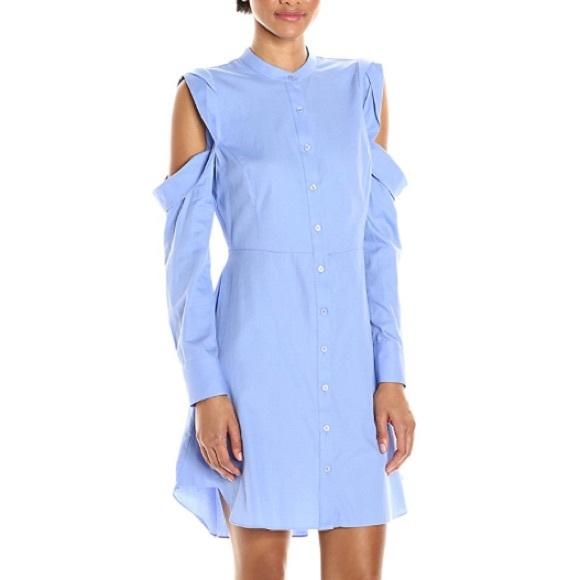 bdf3de8e9897 BCBGMAXAZRIA Blue Open Shoulder Shirt Dress