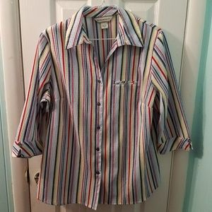 Allison Daley striped button up 3/4 sleeve shirt