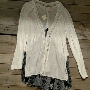 Skies are Blue navy/white open cardigan NWT