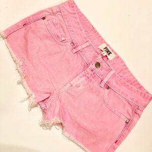 VS Pink hot pink denim shorts