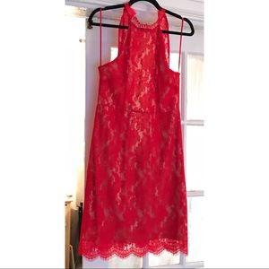 Sans Souci - Red Lace Cocktail Dress - Medium