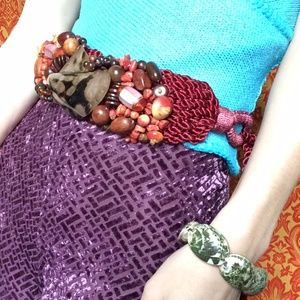 Anthropologie Accessories - 💫Mother of Pearl & Glass Amber Beaded Waist Belt