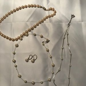 Jewelry - Pearl Necklaces(3)  & 1 pr earrings