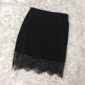 Tobi Pencil Skirt With Lace Trim.