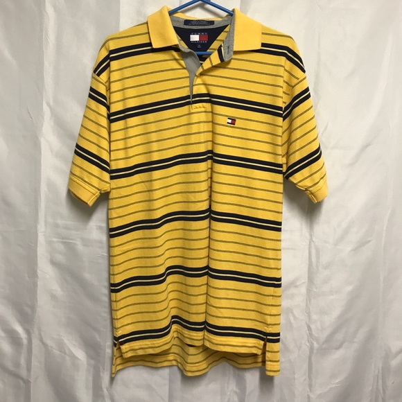 64c865854 Tommy Hilfiger Shirts | Vintage Yellow Striped Polo Shirt | Poshmark