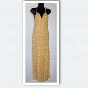 Carole Little Yellow Maxi Racerback Dress Size: M