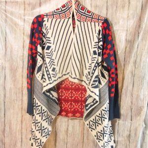 Double Zero Long Sleeved Patchwork Cardigan