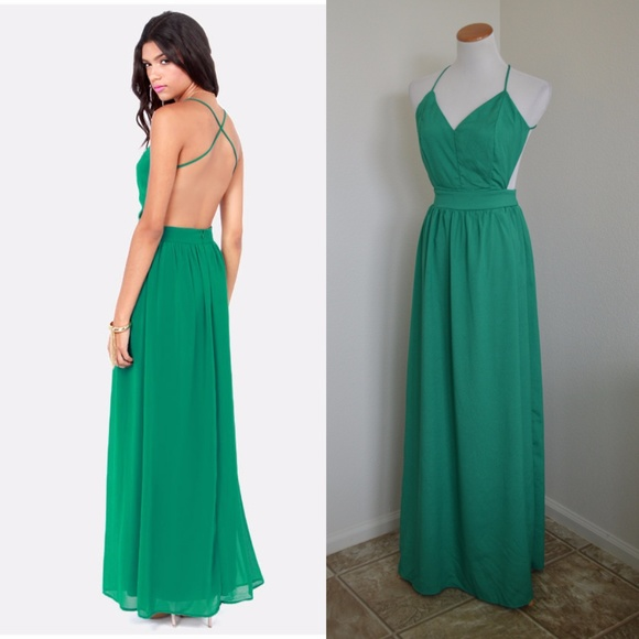 978bbb50873 Lulu s Dresses   Skirts - Lulus Rooftop Garden Backless Maxi Dress Emerald