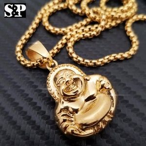 Other - Gold Tone Stainless Steel Buddha Pendant Necklace