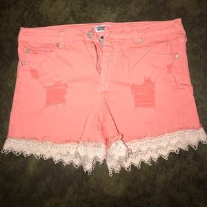 Distressed peach Blue Jean Shorts with lace trim