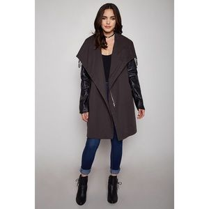SALE🍁 edgy trench coat leather sleeves jacket