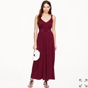 J Crew Silk Trimmed Burgundy Holiday Party Maxi 2