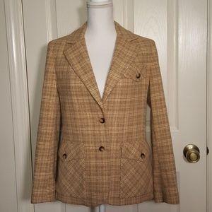 Vintage Dalton Gold and Blue Plaid Ladies' Blazer