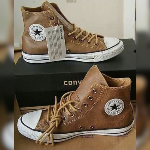 5f1da59d8370 Converse Other - Converse Brown Leather Hightop Shoes Mens 10.5