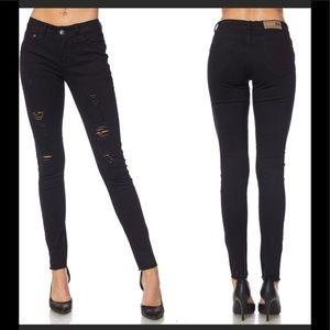 Denim - Black distressed skinny jeans