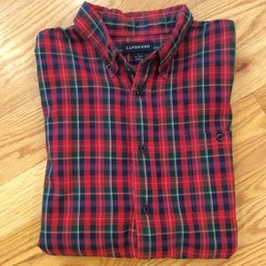 MENS Lands End Red Plaid Buttondown Shirt
