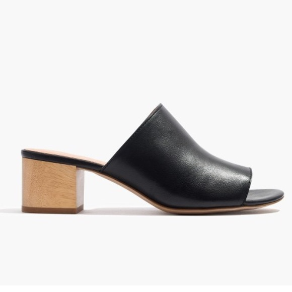 598f6a5719c96 Madewell Shoes | Devon Black Leather Peep Toe Mule Size 6 | Poshmark