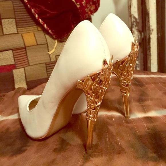 e5cb0e7a6c7 White heels with gold leaf heels