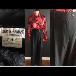 Vintage Giorgio Armani textured Wide Leg Trousers