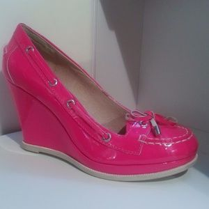 Sperry Topsiders Neon Pink wedges, Super Cool!! 4""