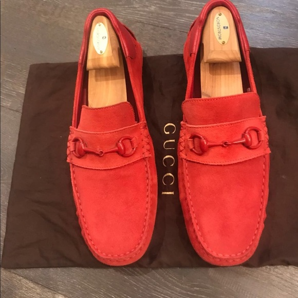 4ee3ad88b02 Gucci Other - Gucci Red Men s Suede Horsebit Loafers Flats