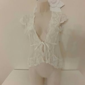 Sheer ivory lace jacket