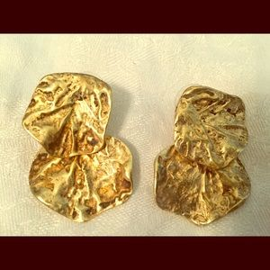 Kenneth Jay Lane Gold Color Two Tier Earrings