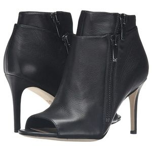NWT/Box Via Spiga Leather Open Toe Low Boots 6.5