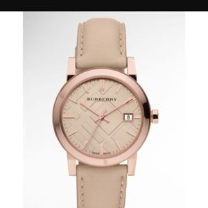 Rose gold blush pink Burberry leather watch